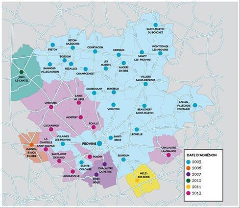 Carte des Communauté de Communes de Provins